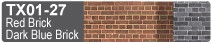 Scalescenes Red Brick and Dark Blue Brick Swatch